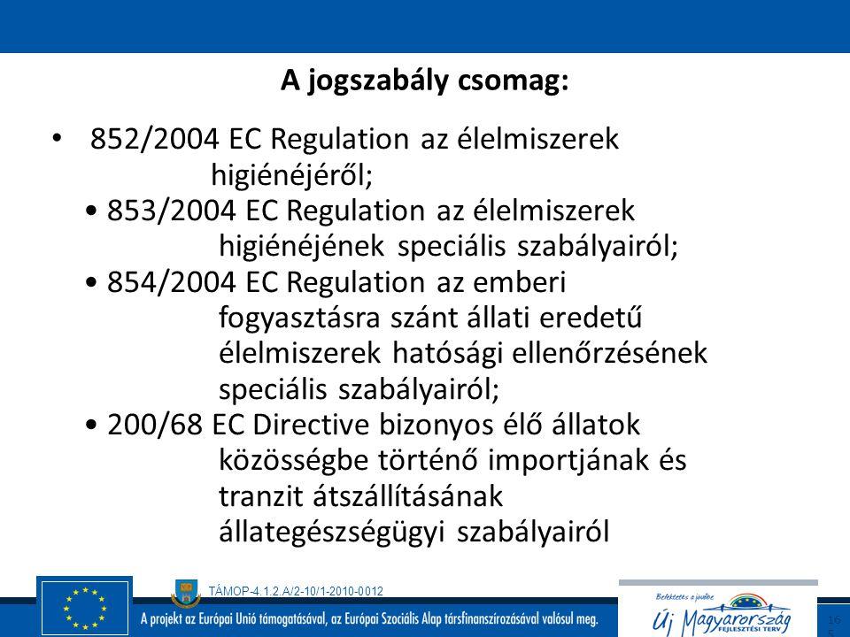 TÁMOP-4.1.2.A/2-10/1-2010-0012 16 4 EU higéniai csomag Új EU higiéniai csomag lépett hatályba 2006.január 1-től, mely a teljes élelmiszerlánc szemléle