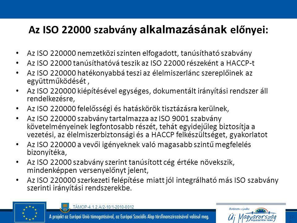 TÁMOP-4.1.2.A/2-10/1-2010-0012 16 9 ISO 22000 rendszer kiépítésének, tanúsíttatásának folyamata: Az ISO 22000 szabvány szerinti működésre felkészítő s