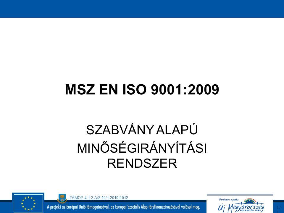 TÁMOP-4.1.2.A/2-10/1-2010-0012 17 0 Az ISO 22000 szabvány alkalmazásának előnyei: Az ISO 220000 nemzetközi szinten elfogadott, tanúsítható szabvány Az