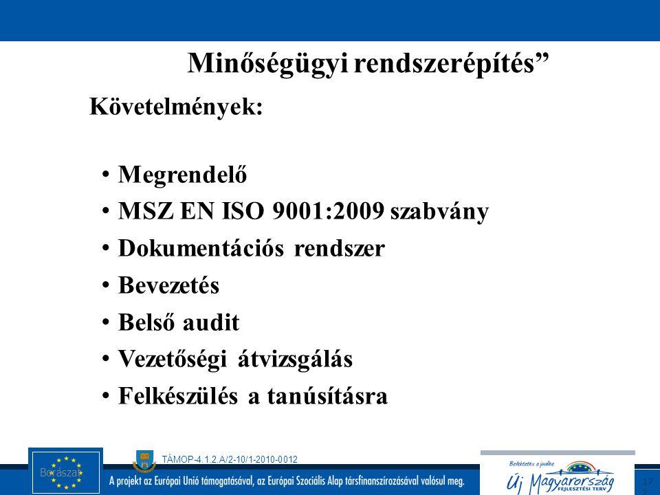 TÁMOP-4.1.2.A/2-10/1-2010-0012 17 1 MSZ EN ISO 9001:2009 SZABVÁNY ALAPÚ MINŐSÉGIRÁNYÍTÁSI RENDSZER