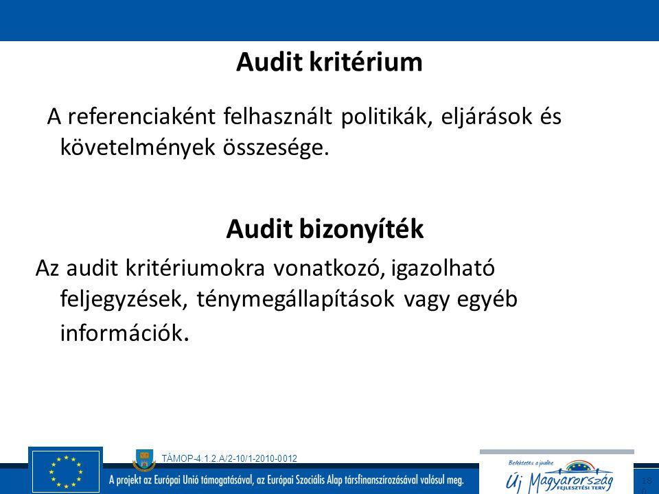 TÁMOP-4.1.2.A/2-10/1-2010-0012 17 9 Az Audit (definíció) Rendszeres, független és dokumentált eljárás audit bizonyítékok megszerzésére és tárgyilagos
