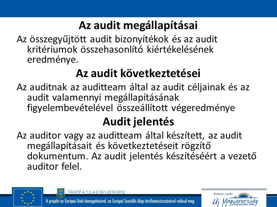 TÁMOP-4.1.2.A/2-10/1-2010-0012 18 0 Audit kritérium A referenciaként felhasznált politikák, eljárások és követelmények összesége. Audit bizonyíték Az