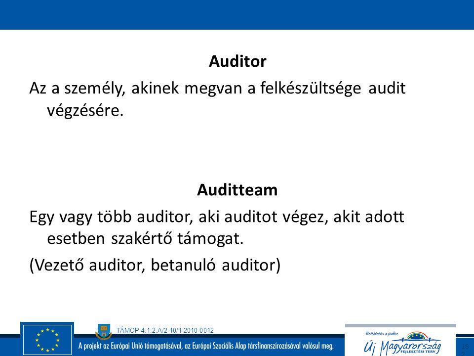 TÁMOP-4.1.2.A/2-10/1-2010-0012 18 1 Az audit megállapításai Az összegyűjtött audit bizonyítékok és az audit kritériumok összehasonlító kiértékelésének