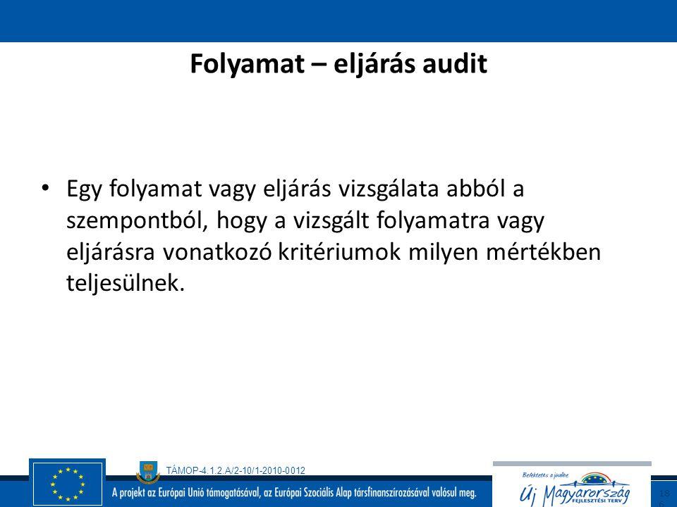 TÁMOP-4.1.2.A/2-10/1-2010-0012 18 5 Rendszeraudit A teljes minőségirányítási rendszer felülvizsgálata. Kiterjed a rendszerrel kapcsolatos kritériumokn