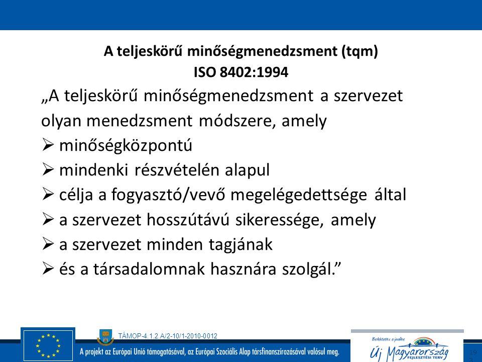 TÁMOP-4.1.2.A/2-10/1-2010-0012 19 2 A TQM 3 alappillére A minőségirányítás alapelvei Vevőközpontú szemlélet1. Vevőközpontúság 2. Kölcsönösen előnyös k