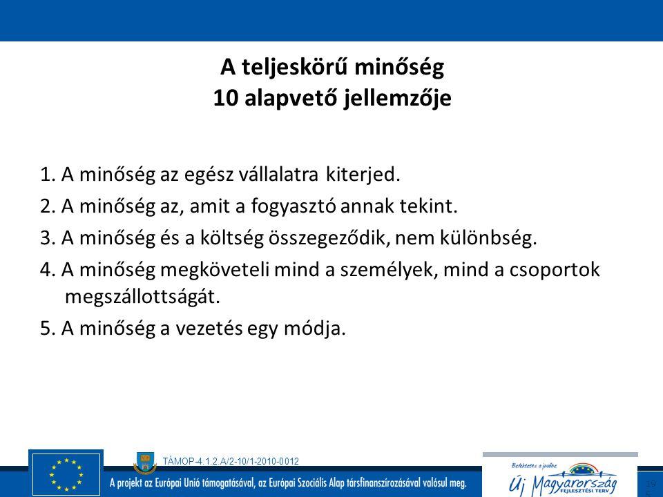 TÁMOP-4.1.2.A/2-10/1-2010-0012 19 4 Az (üzleti) kiválóság (Nemzeti Minőségi Díj) A vezetés megalapozott üzletpolitikával és stratégiával, a dolgozók é