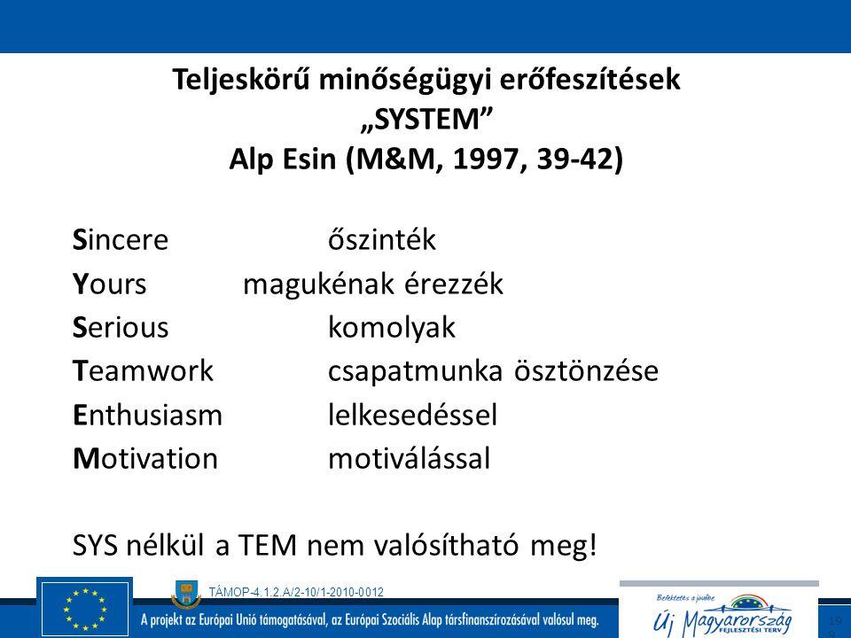 TÁMOP-4.1.2.A/2-10/1-2010-0012 19 8 A teljesítmény tökéletesítése minőségügyi tevékenységekkel (folytatás)  A dolgozók bevonása – felhatalmazás – kép