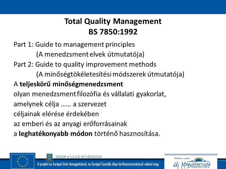 TÁMOP-4.1.2.A/2-10/1-2010-0012 20 0 Teljeskörű minőségmenedzsment (TQM) Szabványok  BS 7850:1992 Total Quality Management  ISO 9004-4 (1993) Continu