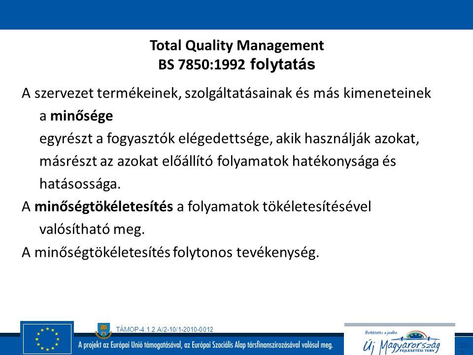 TÁMOP-4.1.2.A/2-10/1-2010-0012 20 1 Total Quality Management BS 7850:1992 Part 1: Guide to management principles (A menedzsment elvek útmutatója) Part