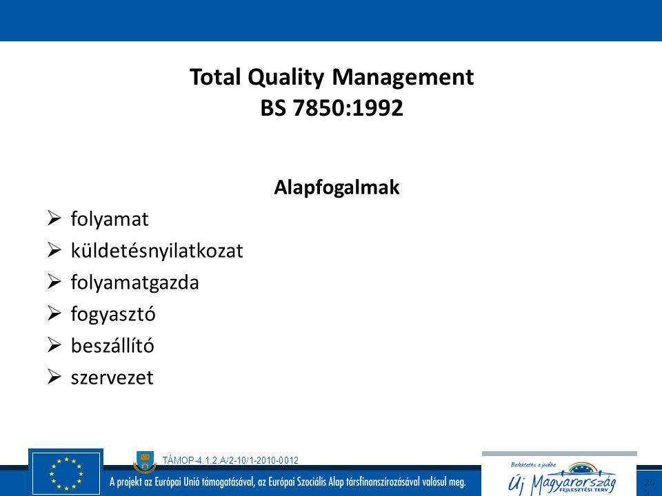 TÁMOP-4.1.2.A/2-10/1-2010-0012 20 2 Total Quality Management BS 7850:1992 folytatás A szervezet termékeinek, szolgáltatásainak és más kimeneteinek a m