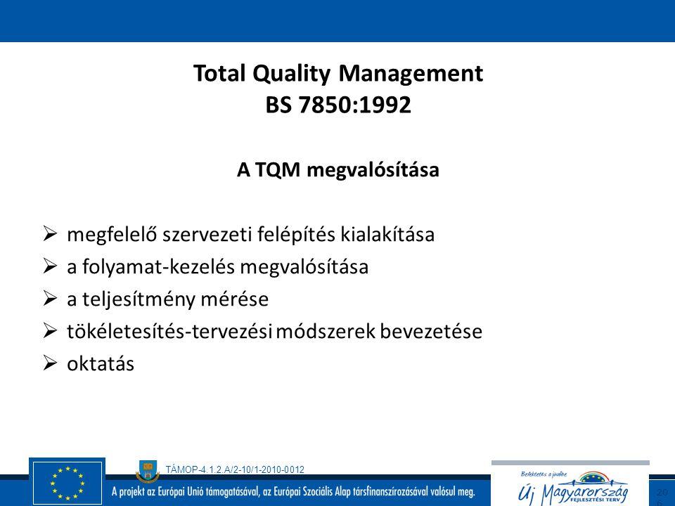 TÁMOP-4.1.2.A/2-10/1-2010-0012 20 5 Total Quality Management BS 7850:1992 folytatás A minőségtökéletesítés környezete  A vezetés felelőssége és csapa