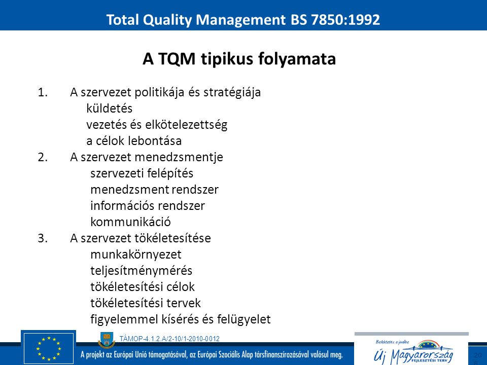 TÁMOP-4.1.2.A/2-10/1-2010-0012 20 7 Total Quality Management BS 7850:1992 A támogató módszerek szerepe  minőségügyi-rendszer  minőség-tökéletesítés