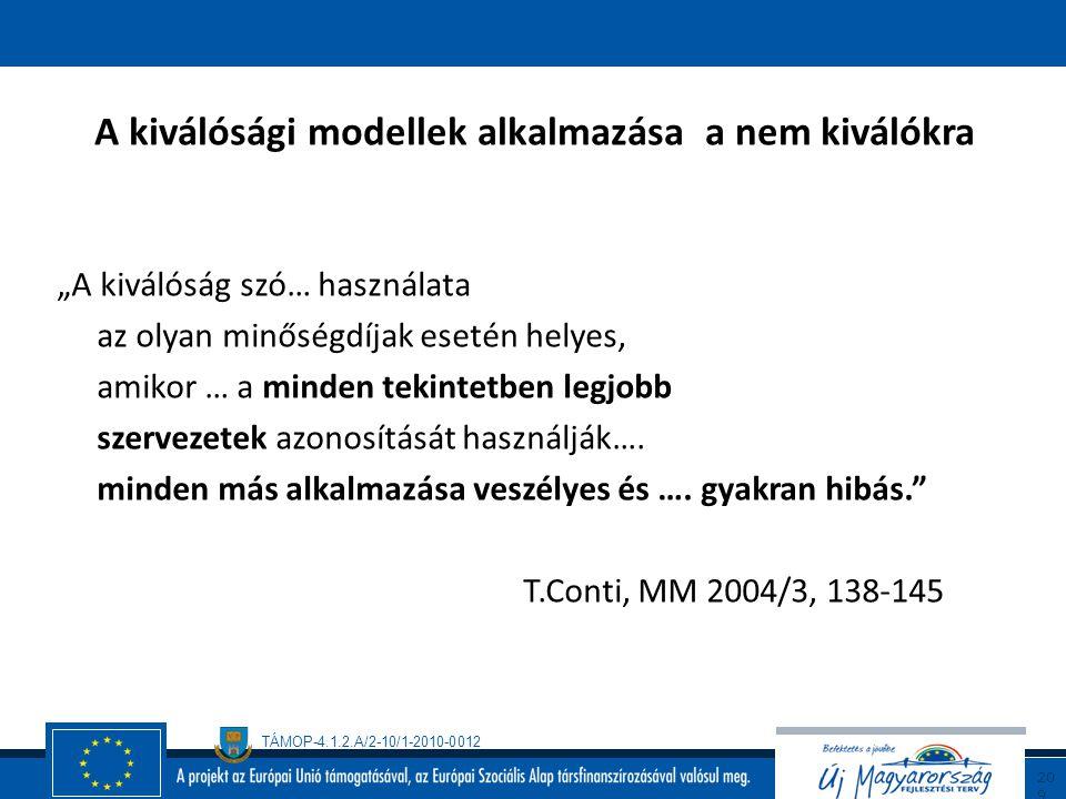 TÁMOP-4.1.2.A/2-10/1-2010-0012 20 8 Total Quality Management BS 7850:1992 A TQM tipikus folyamata 1.A szervezet politikája és stratégiája küldetés vez