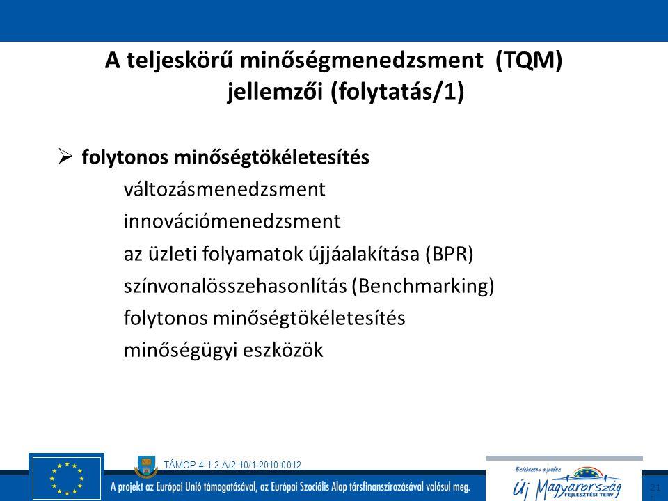 TÁMOP-4.1.2.A/2-10/1-2010-0012 21 0 A teljeskörű minőségmenedzsment (tqm) Jellemzői  minőségszabályozás a minőség tervezése alapfolyamatok, érdekelte