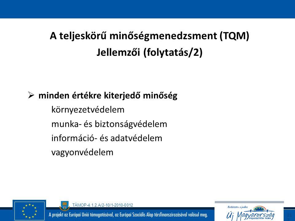 TÁMOP-4.1.2.A/2-10/1-2010-0012 21 1 A teljeskörű minőségmenedzsment (TQM) jellemzői (folytatás/1)  folytonos minőségtökéletesítés változásmenedzsment