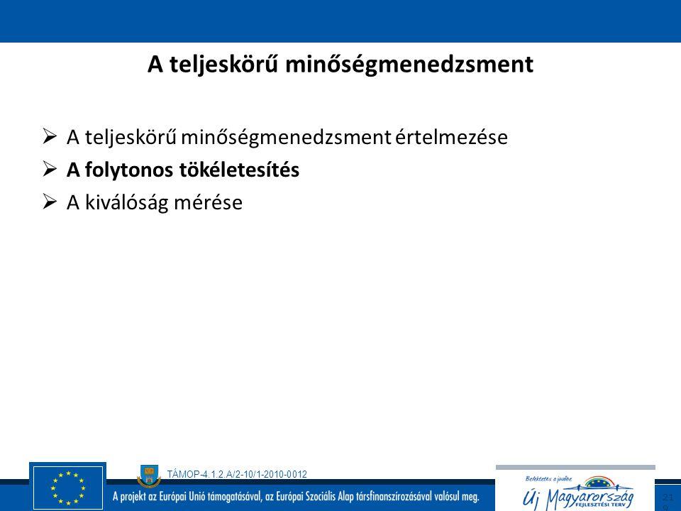 TÁMOP-4.1.2.A/2-10/1-2010-0012 21 8 A teljeskörű minőségmenedzsment (TQM) Jellemzői (folytatás/8)  a vállalati kultúra ápolása és fejlesztése folyton