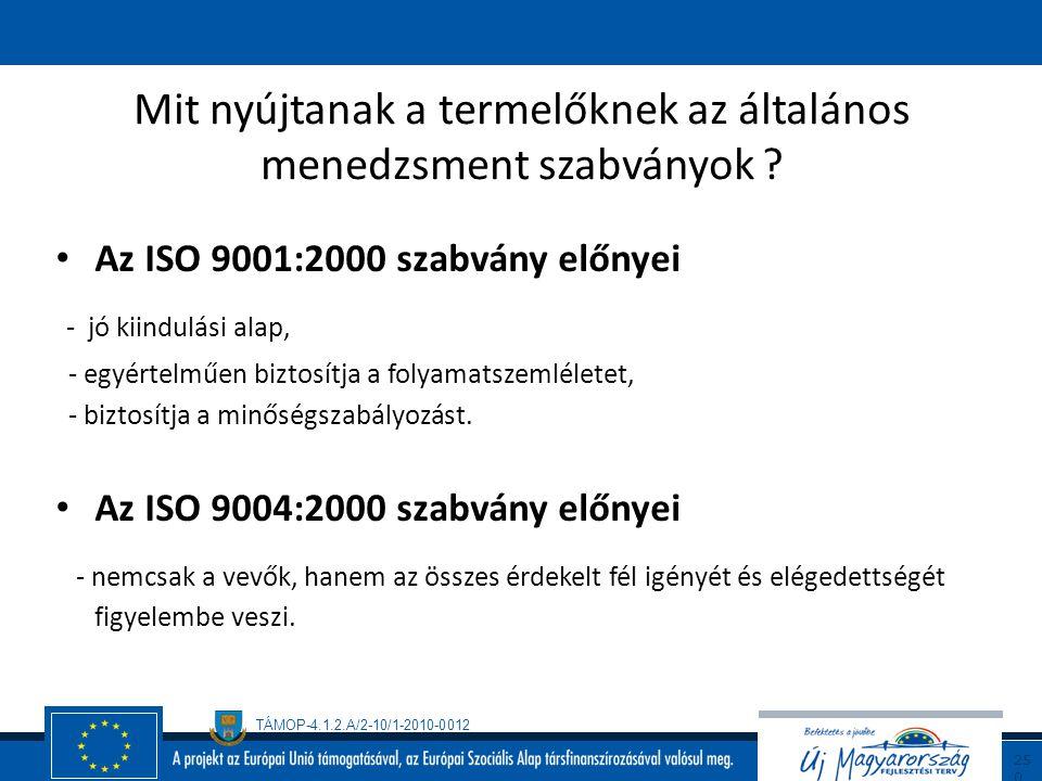 """TÁMOP-4.1.2.A/2-10/1-2010-0012 24 9 Szabványok Vállalati szabványok - FSIS, - IFS, - BRC, - EUREPGAP """"Nemzetközi"""" szabványok - ISO 9000 szabványcsalád"""