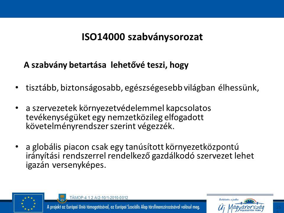 TÁMOP-4.1.2.A/2-10/1-2010-0012 25 7 ISO 14000 szabványcsalád előzmények A környezeti problémák előtérbe kerülésével és a szervezetek -elsősorban terme