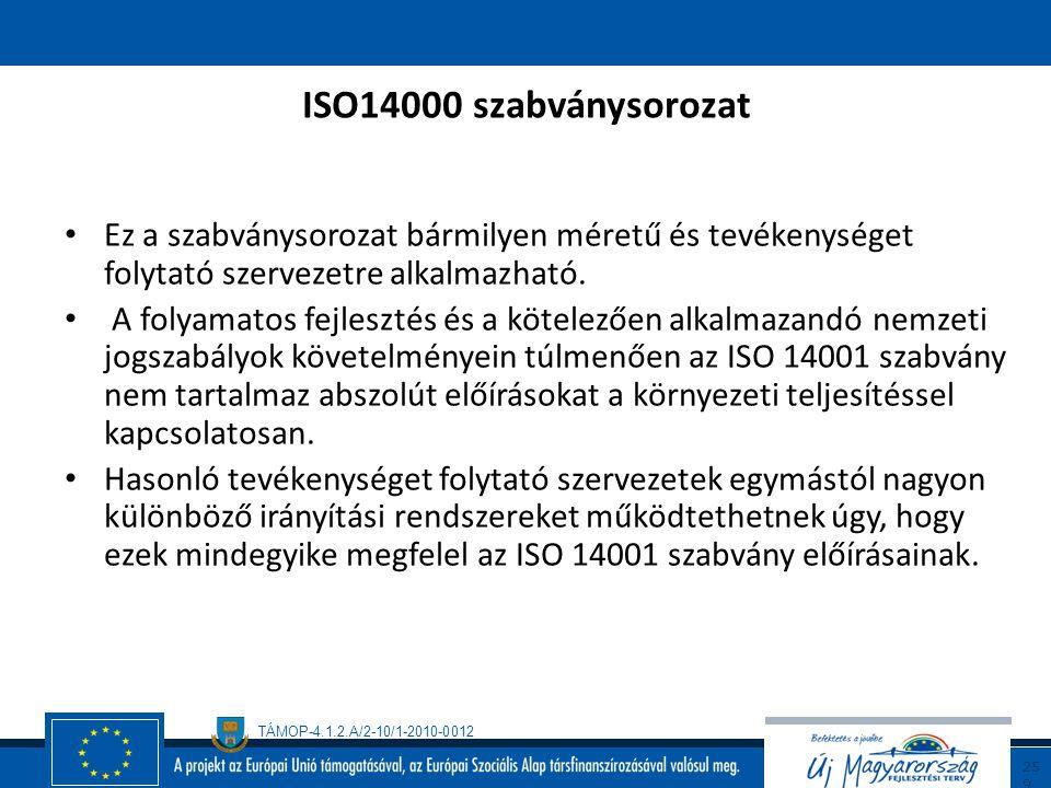 TÁMOP-4.1.2.A/2-10/1-2010-0012 25 8 ISO14000 szabványsorozat A szabvány betartása lehetővé teszi, hogy tisztább, biztonságosabb, egészségesebb világba