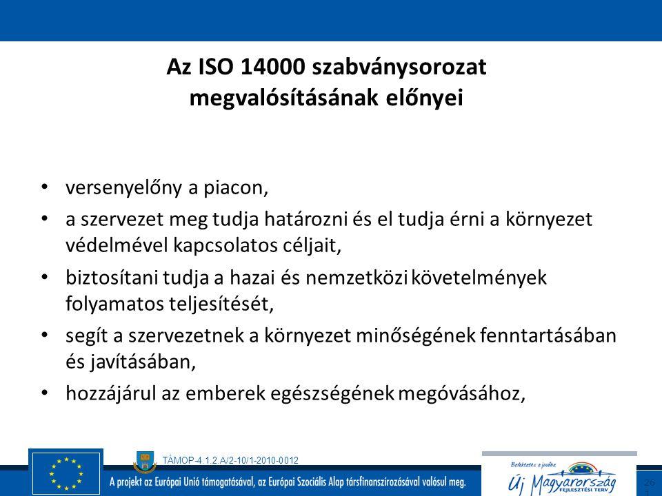 TÁMOP-4.1.2.A/2-10/1-2010-0012 26 0 Az ISO 14000 szabványsorozat ISO 14001 Környezetközpontú irányítási rendszerek – Követelmények és alkalmazási irán