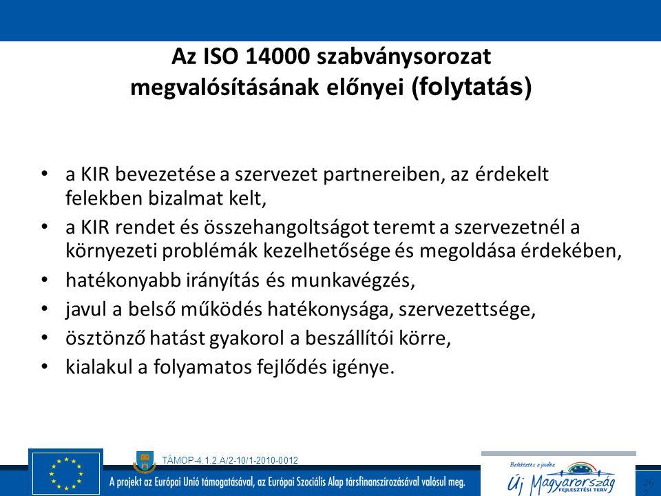 TÁMOP-4.1.2.A/2-10/1-2010-0012 26 1 Az ISO 14000 szabványsorozat megvalósításának előnyei versenyelőny a piacon, a szervezet meg tudja határozni és el