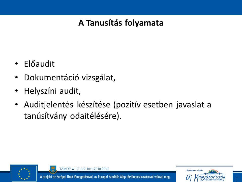 TÁMOP-4.1.2.A/2-10/1-2010-0012 26 6 A KIR kiépítése ( folytatás ) A rendszer bevezetése Tréningek, Belső auditok, A szükséges helyesbítő intézkedések