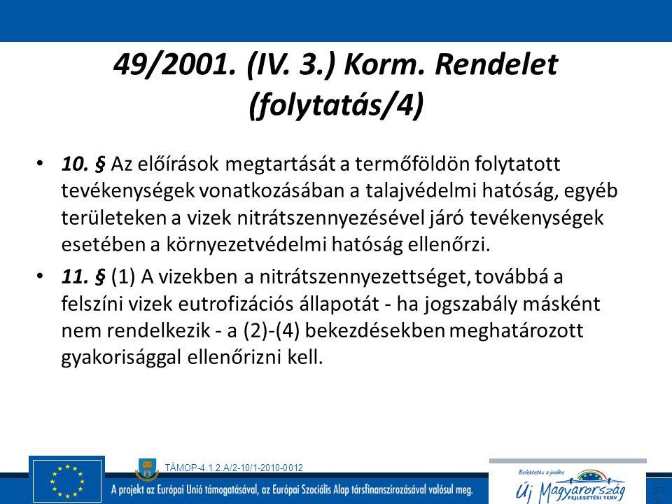 TÁMOP-4.1.2.A/2-10/1-2010-0012 27 2 49/2001. (IV. 3.) Korm. Rendelet (folytatás/3) 8. § A nitrátérzékeny területen mezőgazdasági tevékenységet folytat
