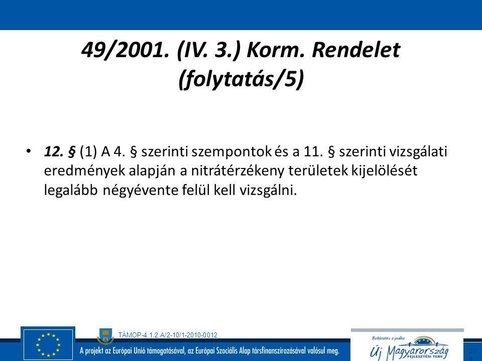 TÁMOP-4.1.2.A/2-10/1-2010-0012 27 3 49/2001. (IV. 3.) Korm. Rendelet (folytatás/4) 10. § Az előírások megtartását a termőföldön folytatott tevékenység