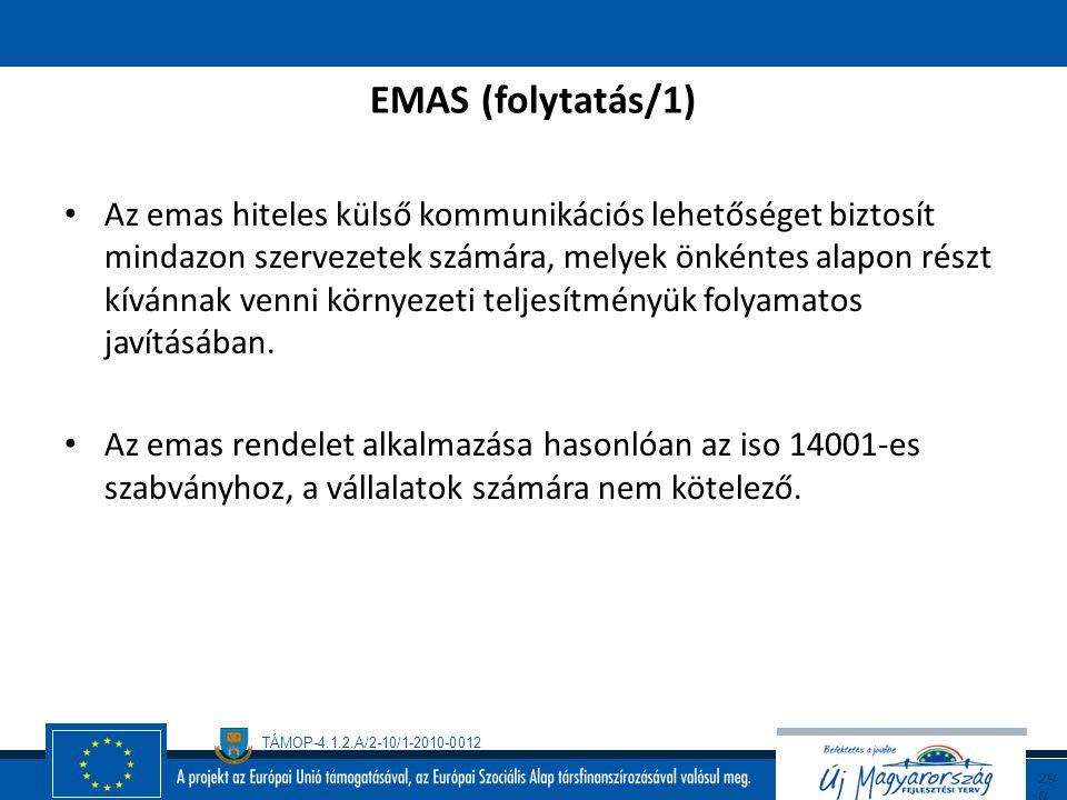 TÁMOP-4.1.2.A/2-10/1-2010-0012 28 9 Az Európai Unió 1993 júliusában bocsátotta ki az Eco-Management and Audit Scheme rendeletet, röviden EMAS-t. (EC18