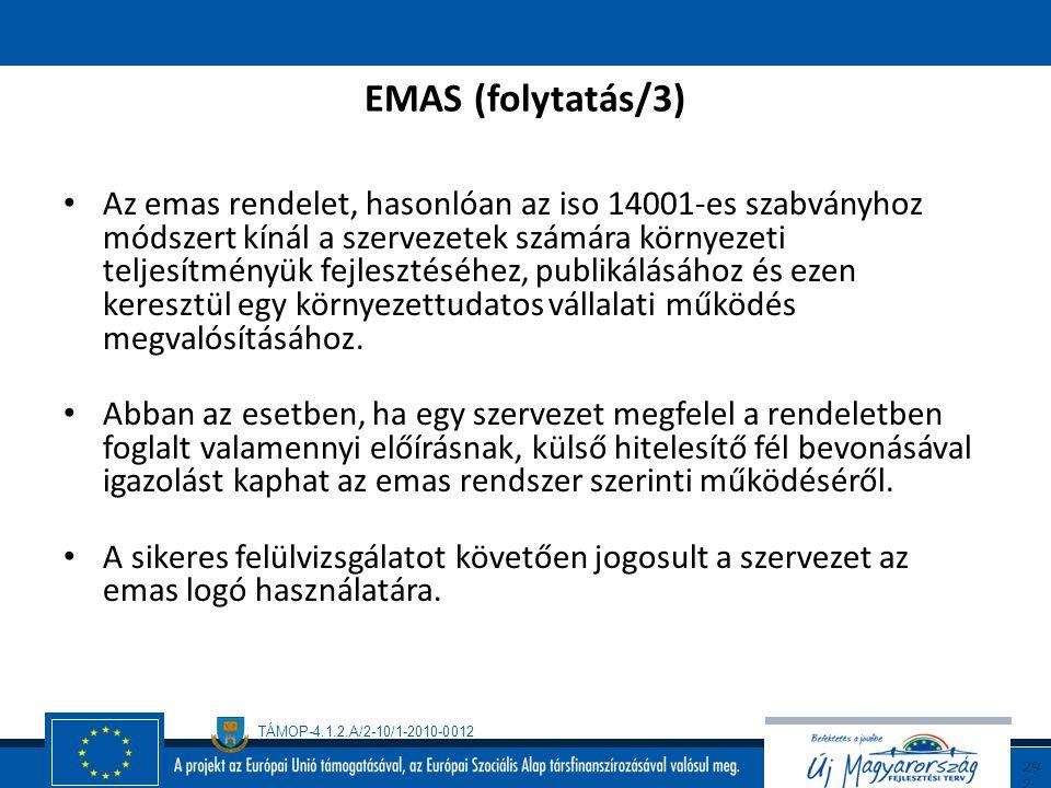 TÁMOP-4.1.2.A/2-10/1-2010-0012 29 1 EMAS (folytatás/2) Az emas rugalmassága folytán lehetővé teszi a szervezetek számára, hogy a vonatkozó tájékoztatá
