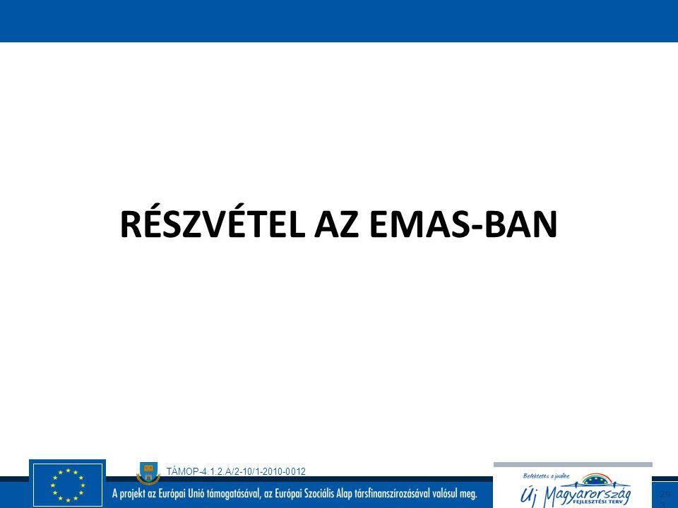 TÁMOP-4.1.2.A/2-10/1-2010-0012 29 2 EMAS (folytatás/3) Az emas rendelet, hasonlóan az iso 14001-es szabványhoz módszert kínál a szervezetek számára kö