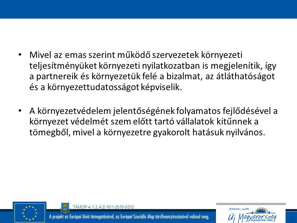 TÁMOP-4.1.2.A/2-10/1-2010-0012 29 8 AZ ECO-MANAGEMENT AND AUDIT SCHEME RENDELET (EMAS) ALKALMAZÁSÁVAL JÁRÓ ELŐNYÖK