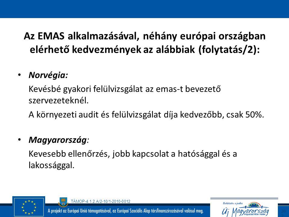 TÁMOP-4.1.2.A/2-10/1-2010-0012 30 1 Az EMAS alkalmazásával, néhány európai országban elérhető kedvezmények az alábbiak (folytatás/1): Olaszország: Az