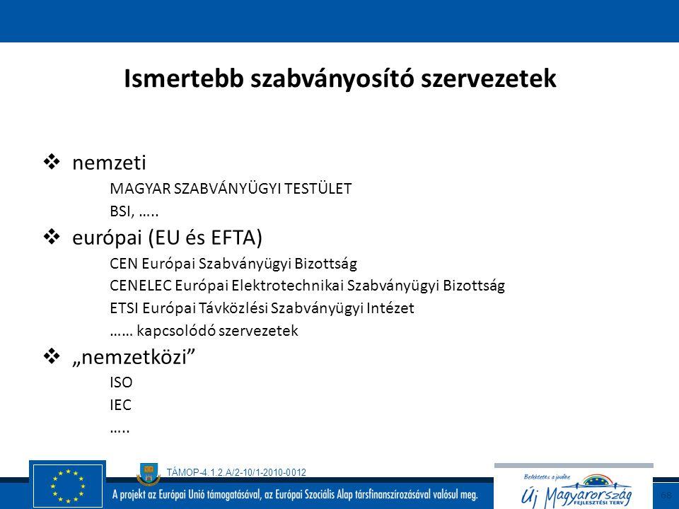 TÁMOP-4.1.2.A/2-10/1-2010-0012 67 A szabványok főbb típusai a szabványosító szervezet alapján  szabvány  vállalati szabvány  nemzeti szabvány  eur