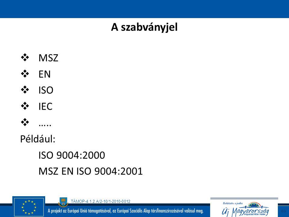 TÁMOP-4.1.2.A/2-10/1-2010-0012 68 Ismertebb szabványosító szervezetek  nemzeti MAGYAR SZABVÁNYÜGYI TESTÜLET BSI, …..  európai (EU és EFTA) CEN Európ
