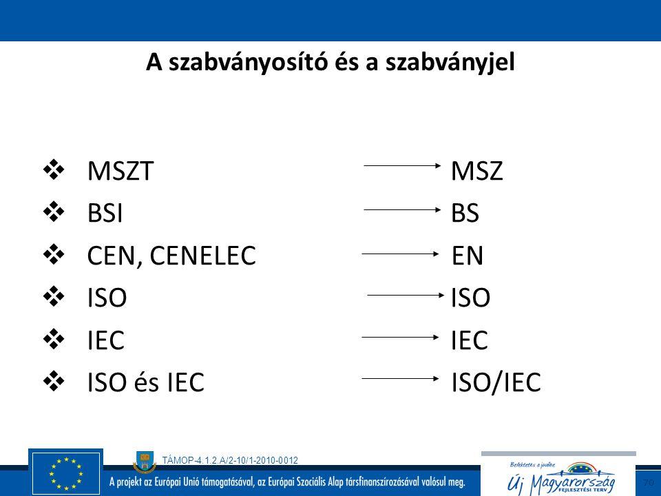 TÁMOP-4.1.2.A/2-10/1-2010-0012 69 A szabványjel  MSZ  EN  ISO  IEC  ….. Például: ISO 9004:2000 MSZ EN ISO 9004:2001