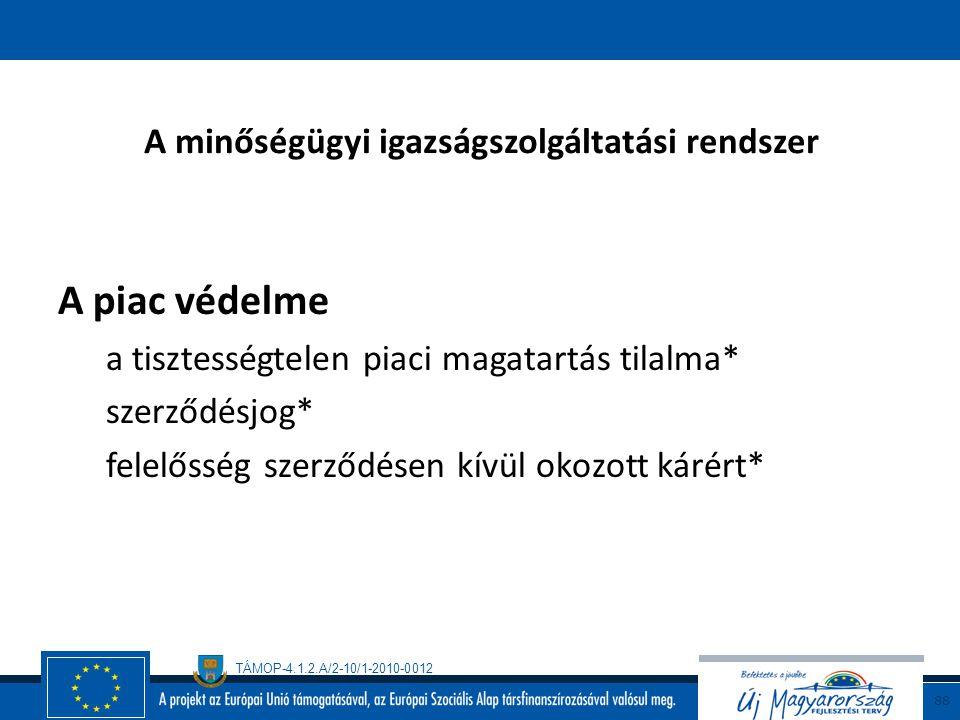 TÁMOP-4.1.2.A/2-10/1-2010-0012 87 A minőségügyi igazságszolgáltatási rendszer A termelői érdekek védelme (iparvédelem)  A találmányok szabadalmi olta