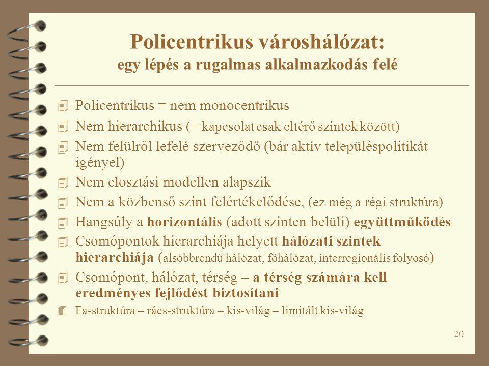 20 4 Policentrikus = nem monocentrikus 4 Nem hierarchikus (= kapcsolat csak eltérő szintek között) 4 Nem felülről lefelé szerveződő (bár aktív települ