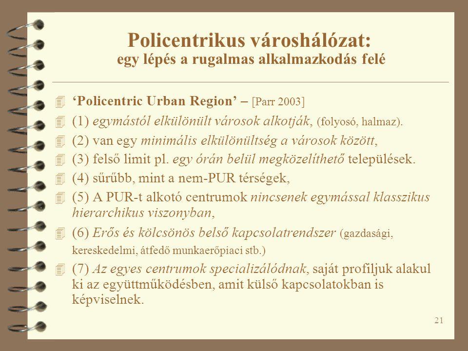 21 Policentrikus városhálózat: egy lépés a rugalmas alkalmazkodás felé 4 'Policentric Urban Region' – [Parr 2003] 4 (1) egymástól elkülönült városok alkotják, (folyosó, halmaz).