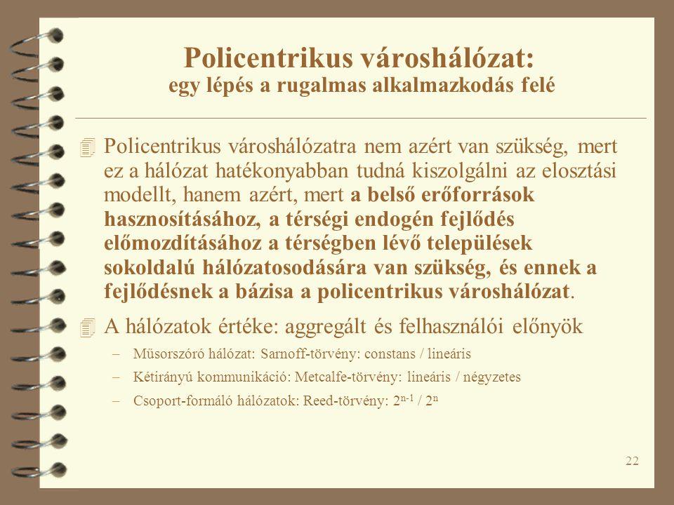 22 Policentrikus városhálózat: egy lépés a rugalmas alkalmazkodás felé 4 Policentrikus városhálózatra nem azért van szükség, mert ez a hálózat hatékon