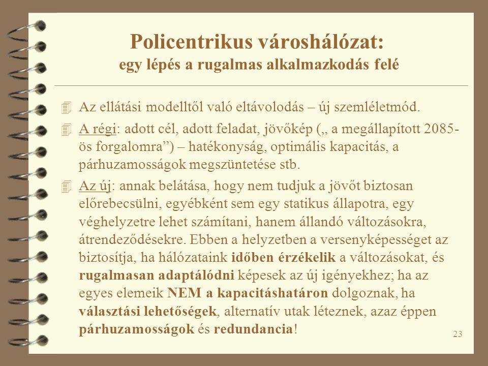 23 Policentrikus városhálózat: egy lépés a rugalmas alkalmazkodás felé 4 Az ellátási modelltől való eltávolodás – új szemléletmód. 4 A régi: adott cél