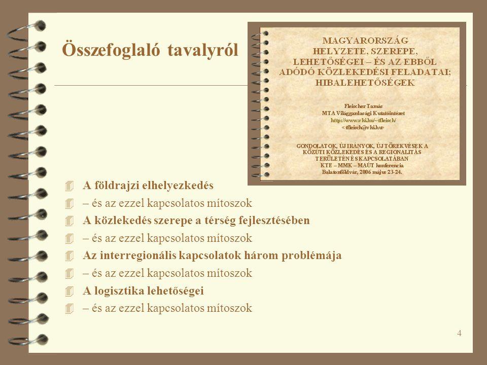 A NEMZETGAZDASÁG ÉS A KÖZLEKEDÉS KÖLCSÖNHATÁSA Fleischer Tamás MTA Világgazdasági Kutatóintézet http://www.vki.hu/~tfleisch/ AZ ÁLLAMREFORM ÉS A KÖZLEKEDÉS- FEJLESZTÉS AKTUÁLIS KÉRDÉSEI KTE – MMK – MAÚT konferencia Balatonföldvár, 2007 május 8-9.