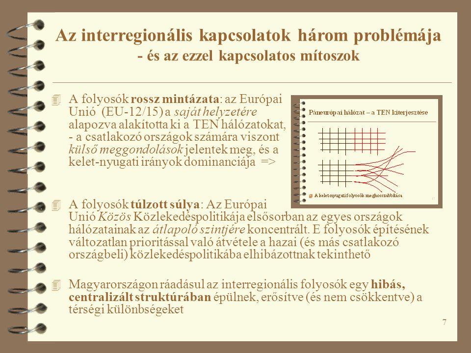 7 4 A folyosók rossz mintázata: az Európai Unió (EU-12/15) a saját helyzetére alapozva alakította ki a TEN hálózatokat, - a csatlakozó országok számár