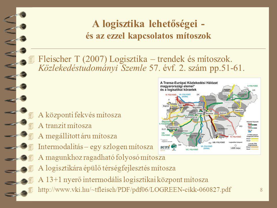 8 A logisztika lehetőségei - és az ezzel kapcsolatos mítoszok 4 Fleischer T (2007) Logisztika – trendek és mítoszok.
