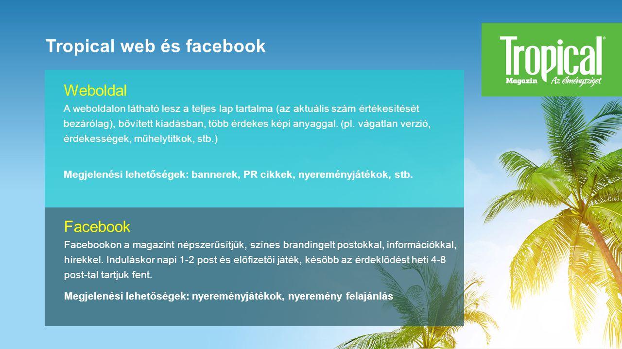 Tropical web és facebook Facebook Facebookon a magazint népszerűsítjük, színes brandingelt postokkal, információkkal, hírekkel.