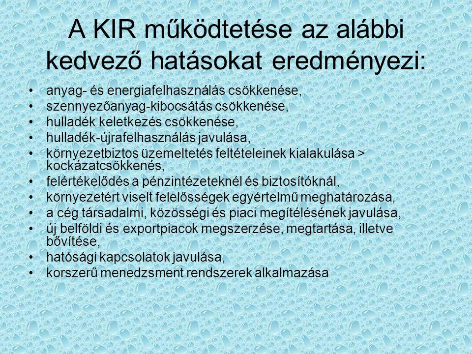 A KIR működtetése az alábbi kedvező hatásokat eredményezi: anyag- és energiafelhasználás csökkenése, szennyezőanyag-kibocsátás csökkenése, hulladék ke