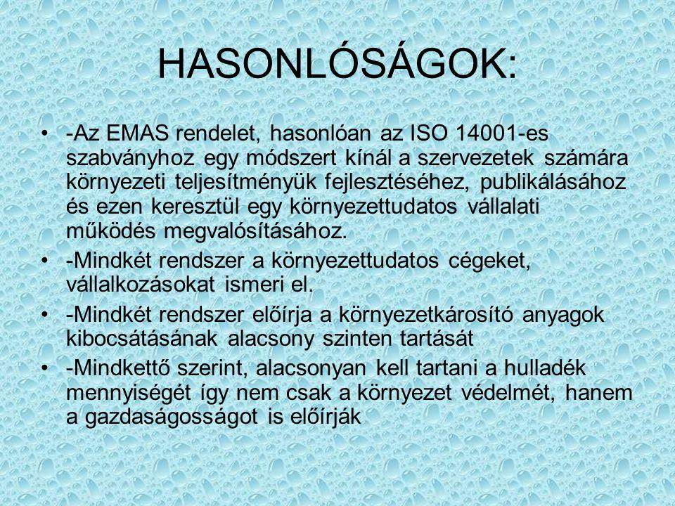 HASONLÓSÁGOK: -Az EMAS rendelet, hasonlóan az ISO 14001-es szabványhoz egy módszert kínál a szervezetek számára környezeti teljesítményük fejlesztéséh