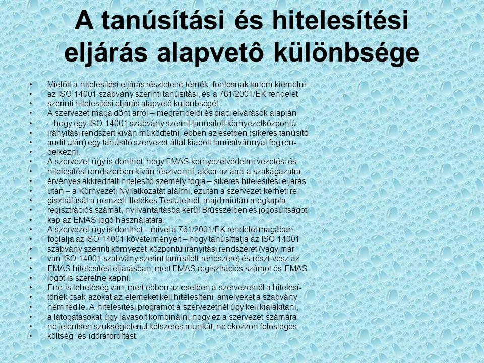 A tanúsítási és hitelesítési eljárás alapvetô különbsége Mielôtt a hitelesítési eljárás részleteire térnék, fontosnak tartom kiemelni az ISO 14001 sza