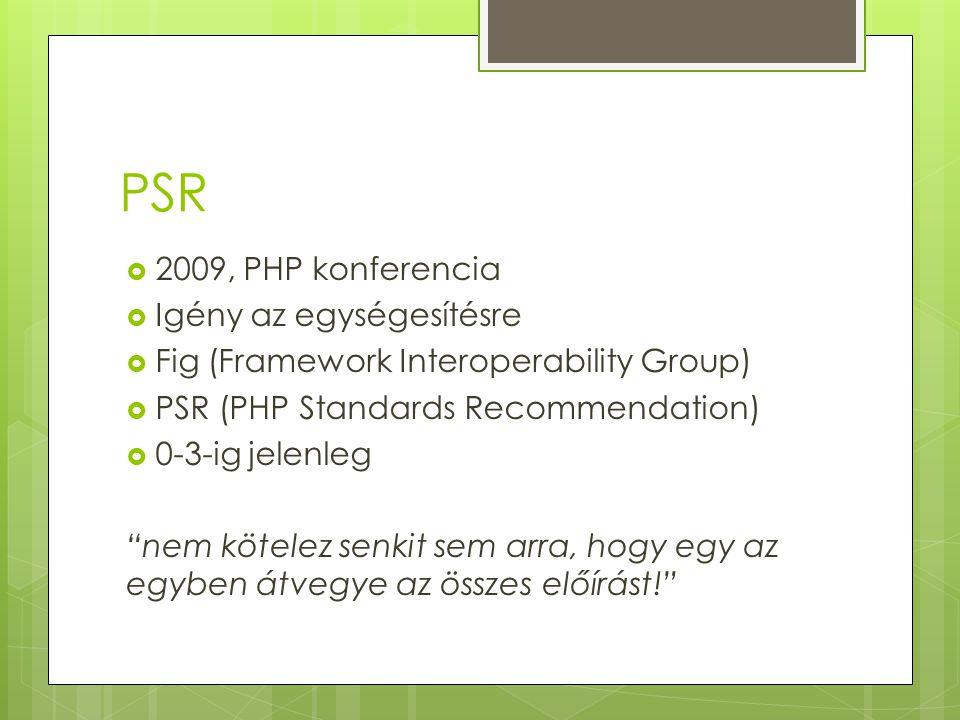 PSR  2009, PHP konferencia  Igény az egységesítésre  Fig (Framework Interoperability Group)  PSR (PHP Standards Recommendation)  0-3-ig jelenleg