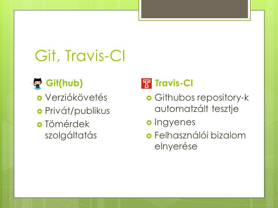 Git, Travis-CI Git(hub)  Verziókövetés  Privát/publikus  Tömérdek szolgáltatás Travis-CI  Githubos repository-k automatzált tesztje  Ingyenes  F